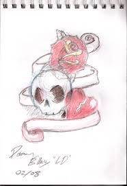 skull rose heart tattoo sketch by lorddamian on deviantart