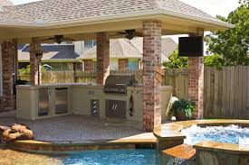 comfortable backyard designs with pool and outdoor kitchen also