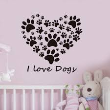 aliexpress com buy i love dogs paw print wall stickers heart aliexpress com buy i love dogs paw print wall stickers heart removable diy home decor bedroom wall decals vinyl art wallpaper from reliable wall sticker