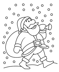 snowfall and santa christmas coloring pages for kids christmas