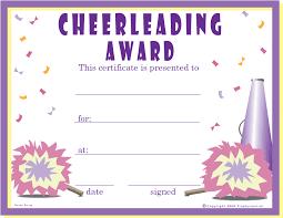 free cheerleader certificates certificate free cheerleader