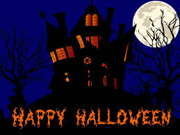 halloween horizontal background happy halloween haunted house and full moon
