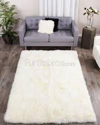 eggshell white rectangle sheep fur rug 5ft x 8ft fursource com