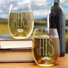 his hers wine glasses anniversary gift engraved his hers stemless wine glasses