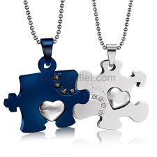 His And Hers Engraved Bracelets Personalized Jigsaw Puzzle His And Hers Necklaces Set For 2