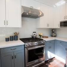 Grey Blue Cabinets Transitional Small Kitchen Photos Hgtv