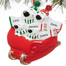 personalized family ornament 4 name polar sled