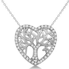 necklace with diamond heart images Diamond heart family tree life pendant necklace 14k white gold 0 05ct jpg
