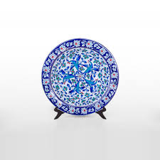 plate with floral pattern and bird figures products plate