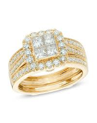 Zales Wedding Rings For Her by Zales 1 1 2 Ct T W Princess Cut Quad Diamond Bridal Set In 14k