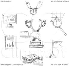 Black Flag Money Clipart Of A Black And White Sketched Business Achievement