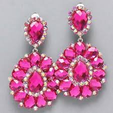 drag clip on earrings pink fuchia rhinestone chandelier clip bridal drag