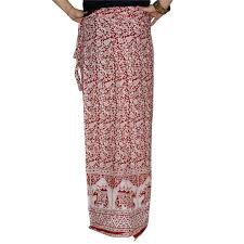 indian cotton printed wrap around skirt with open