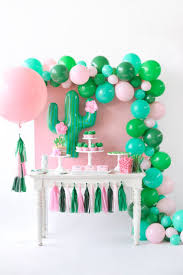 pink and green cactus birthday party dessert table inspiration