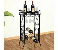 metal wine rack table metal wine rack wine table with hooks for 9 bottles vidaxl com