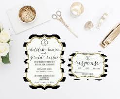 black and white striped wedding invitations black and white stripes wedding invitation rsvp gold glitter