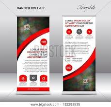 layout banner template red blue roll banner stand vector photo bigstock