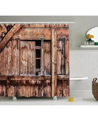 shower curtain oak abandoned barn door print for bathroom