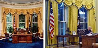 gold curtains in the oval office gold drapes and a bust of churchill a photo guide to donald