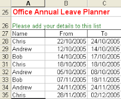excel office holiday planner
