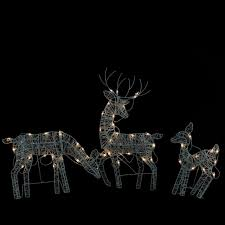 set of 3 white glittered doe fawn and reindeer lighted
