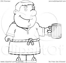 cartoon clipart black white friar man holding beer mug