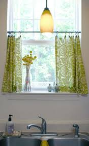 kitchen cafe curtains with a tension rod and curtain clips the
