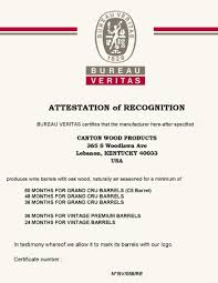 bureau veritas us open air seasoning certification canton cooperage