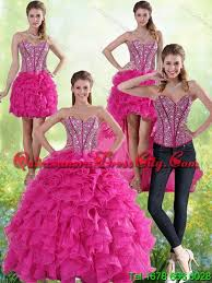 quinceanera pink dresses detachable hot pink sweetheart quinceanera gown with beading and