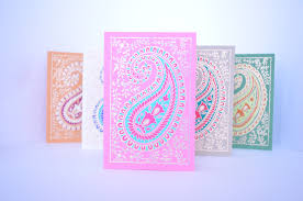 Diwali Invitation Cards Paisley Blank Greeting Card Set Indian Wedding Cards