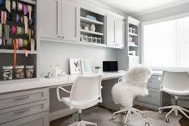 Home Office Desks White Home Office With Built In Side By Side Desks Transitional Den