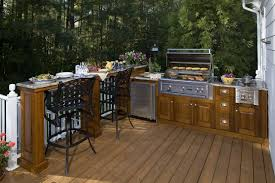 backyard kitchen curved brown countertop beautiful blue painted