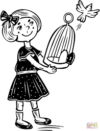 young feeding the birds coloring page free printable