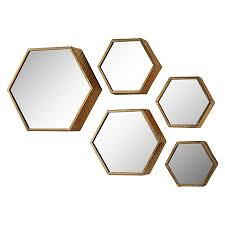 Bathroom Mirrors Target by Lazy Susan Set Of 5 Hexagonal Gold Mirrors Bedrooms Bathroom