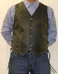biker vest mens black leather waistcoat biker vest eagle embose sides