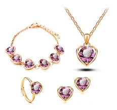 earring necklace bracelet sets images Buy moonrocy free shipping rose gold color jpg