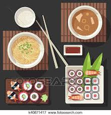 cuisine japonaise traditionnelle clipart cuisine japonaise vecteur illustration ensemble