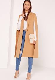 missguided faux wool cape coat camel stuff to pinterest
