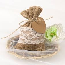lace favor bags rustic vintage lace burlap wedding favor bag ewfb070 as