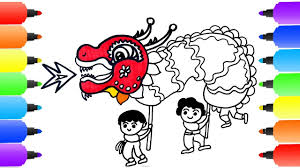 lion dance coloring pages how to draw lion dance learn colors