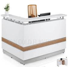 White Salon Reception Desk Office Furniture L Shaped Counter White Modern Salon Reception