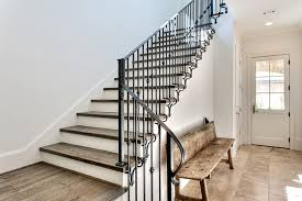 Stone Banister Wrought Iron Stair Railing Staircase Transitional With Baseboards
