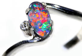 black opal engagement rings black opal 18k white gold engagement ring sb930