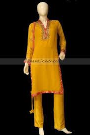 pakistani latest casual fashion golden yellow dress
