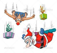 santa and reindeer sky diving vector design