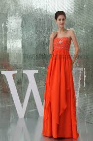 orange beaded sweetheart prom gown evening formal dress
