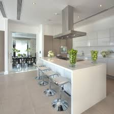high gloss white kitchen with a pop of bright colour love this