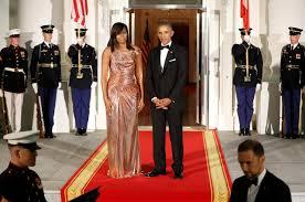 Barack And Michelle Obama U0027s by Dinner Dress White Officer David Emanuel Designed Diana Dress