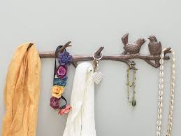 themed wall hooks cast iron birds on branch hanger with 6 hooks
