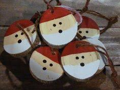 set of rustic log slice santa ornaments available in sets of 3 5